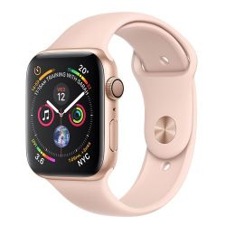 Andorra-Apple Watch Series 4 Gold Aluminum Case Pink Sand Sport Band 44mm