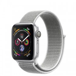 Andorra-Apple Watch Series 4 Silver Aluminum Case Seashell Sport Loop 44mm